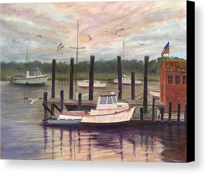 Charleston; Boats; Fishing Dock; Water Canvas Print featuring the painting Shem Creek by Ben Kiger