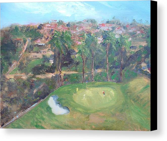 Golf San Clemente- 15th Hole -plain-air Canvas Print featuring the painting Signature Hole by Bryan Alexander