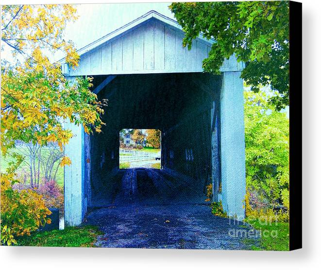 Covered Bridge Canvas Print featuring the photograph South Denmark Rd. Covered Bridge by Gena Weiser