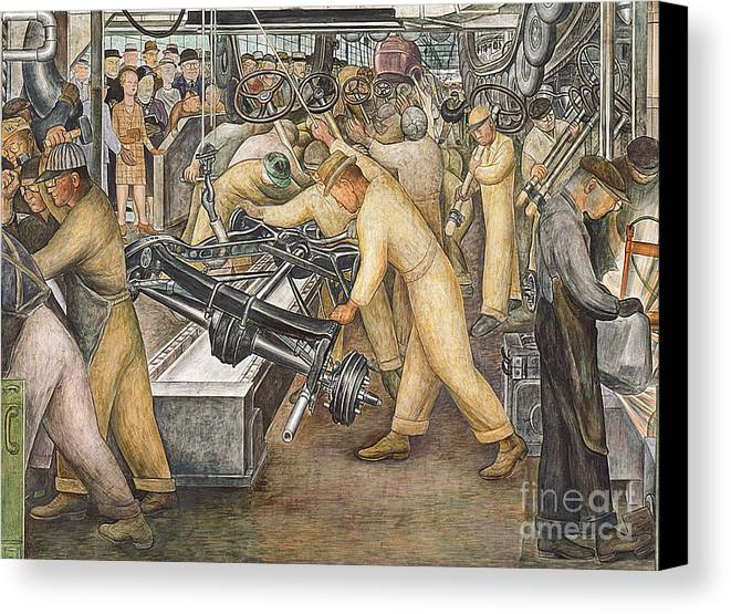 Machinery Canvas Print featuring the painting South Wall Of A Mural Depicting Detroit Industry by Diego Rivera