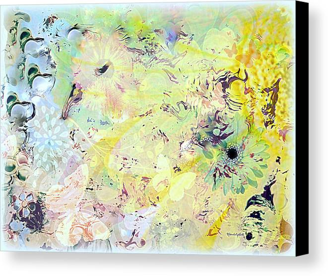 Flowers Canvas Print featuring the mixed media Spring Happiness by YoMamaBird Rhonda