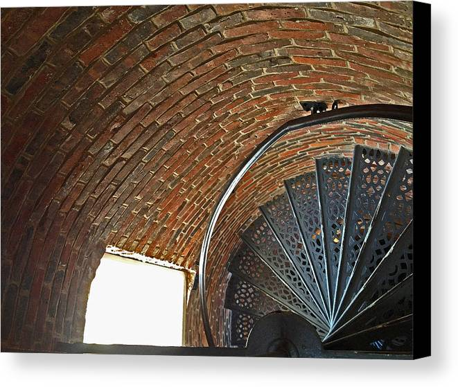 Maine Canvas Print featuring the photograph Stairs At Pemaquid Point Light In Maine by Frank Tozier