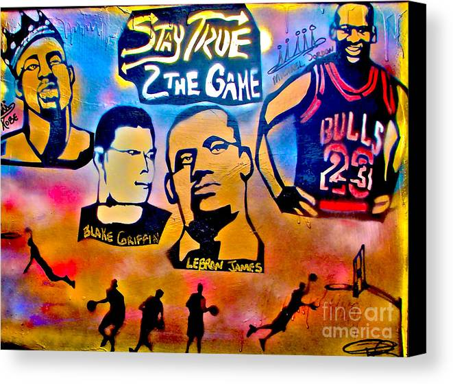 Kobe Bryant Canvas Print featuring the painting Stay True 2 The Game No 1 by Tony B Conscious