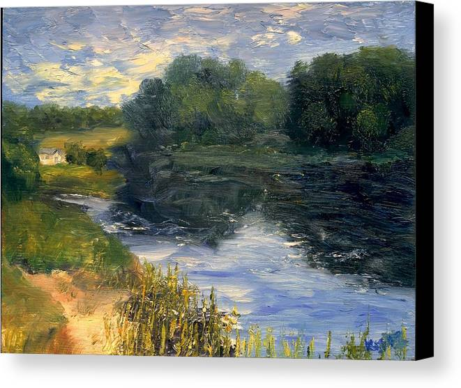 Landscape Canvas Print featuring the painting Summer At Jackson Lake by Gail Kirtz