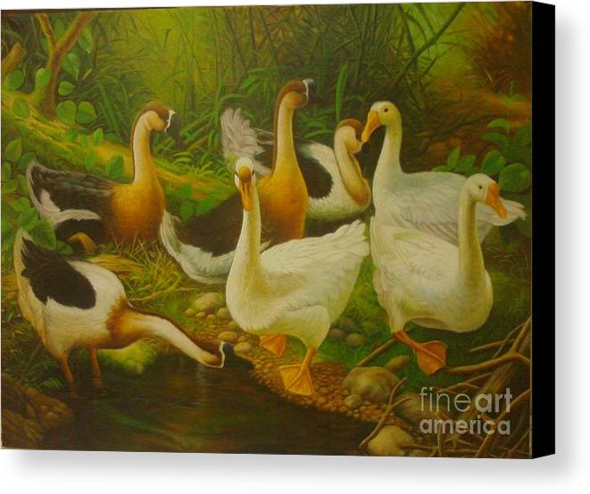 Canvas Print featuring the painting Swans by Gatot Wijoyo