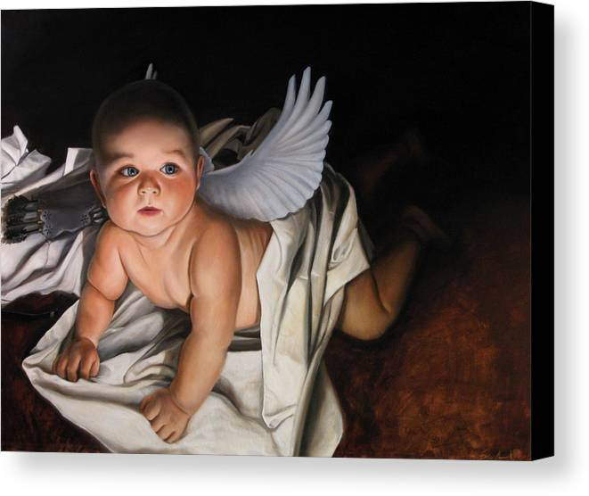 Angel Paintings Canvas Print featuring the painting The Awakening Of Eros by Eric Armusik