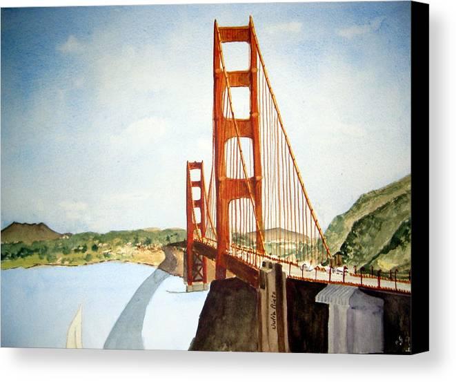 Golden Canvas Print featuring the painting The Golden Gate Bridge by Julia RIETZ