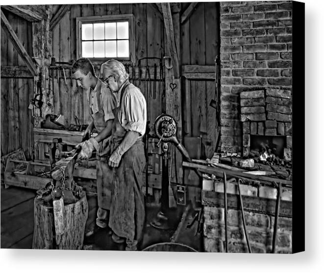 Blacksmith Canvas Print featuring the photograph The Lesson Monochrome by Steve Harrington