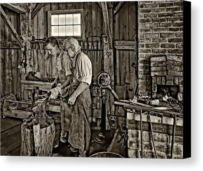 Blacksmith Canvas Print featuring the photograph The Lesson Sepia by Steve Harrington