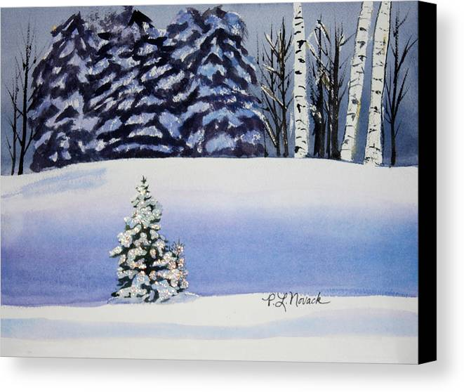 Christmas Canvas Print featuring the painting The Lone Christmas Tree by Patricia Novack