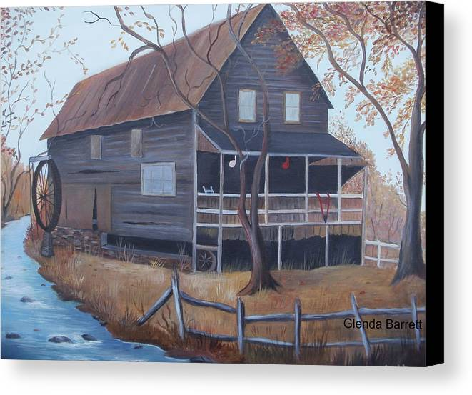 Original Canvas Print featuring the painting The Mill by Glenda Barrett