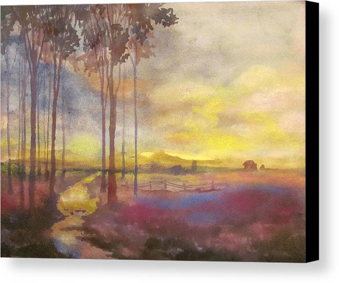 Complementary Color Flatlands Trees Creek House Clouds Contrast Landscape Scenery Nature Canvas Print featuring the painting Through The Trees by James Huntley