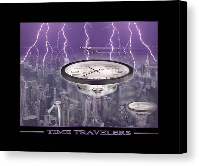 Cityscape Canvas Print featuring the photograph Time Travelers by Mike McGlothlen