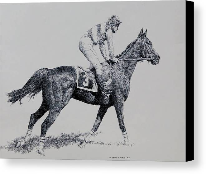 Racehorse Horse Horseracing Thorobreds Jockey Canvas Print featuring the drawing To The Gate by Tony Ruggiero