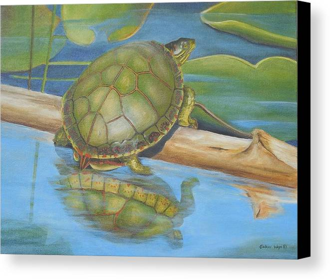 Turtle Canvas Print featuring the painting Turtle On A Log by Golanv Waya