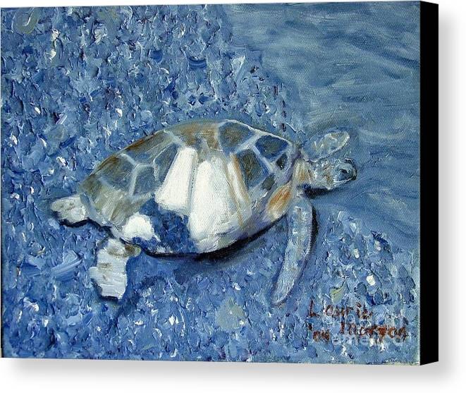 Turtle Canvas Print featuring the painting Turtle On Black Sand Beach by Laurie Morgan