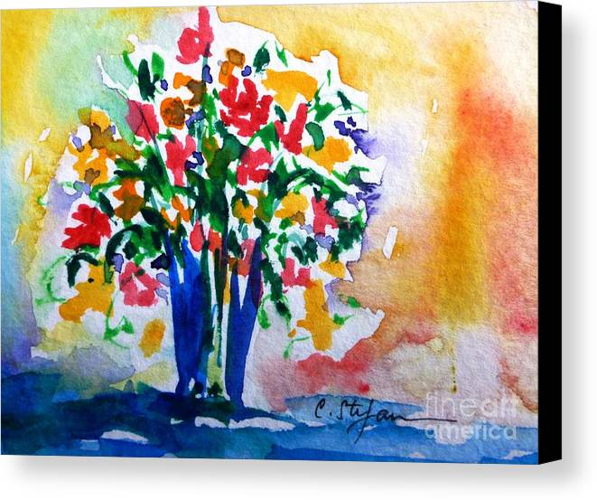 Vase Canvas Print featuring the painting Vase With Flowers by Cristina Stefan