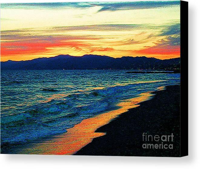 Venice Beach Canvas Print featuring the photograph Venice Beach Sunset by Jerome Stumphauzer