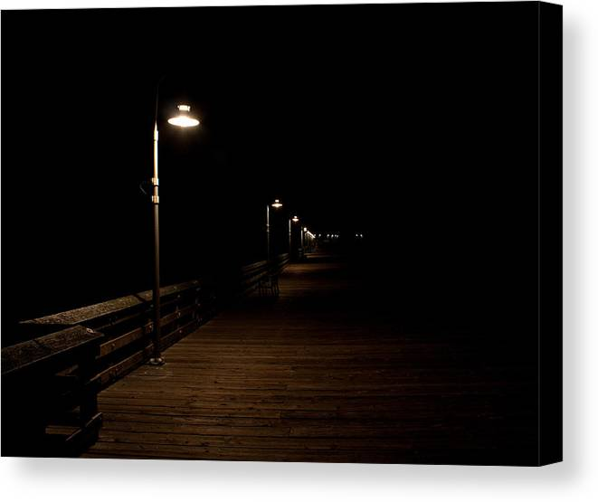 Ventura Canvas Print featuring the photograph Ventura Pier At Night by John Daly