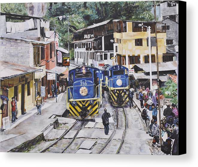 Trains Canvas Print featuring the painting Village Of Aquas Calientes by Dottie Branchreeves