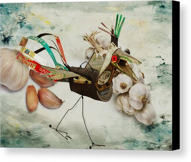 Bird Canvas Print featuring the digital art What Nature Delivers - Those Are Not My Eggs by Yvon van der Wijk