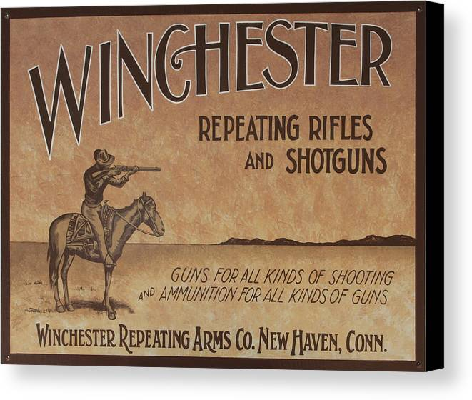 Winchester Canvas Print featuring the painting Winchester Sign by Bill Jonas