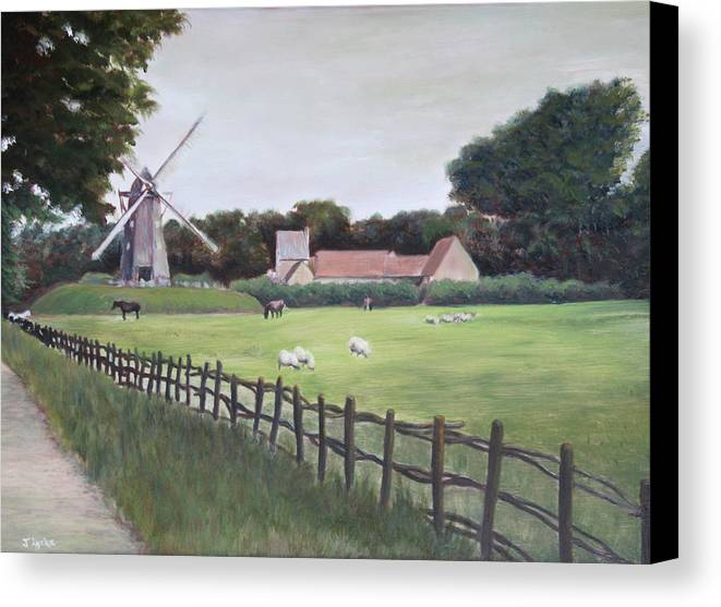 Farm Canvas Print featuring the painting Windmill On Farm by Jennifer Lycke