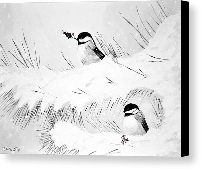 Chickadee Canvas Print featuring the painting Chickadees by Chastity Hoff