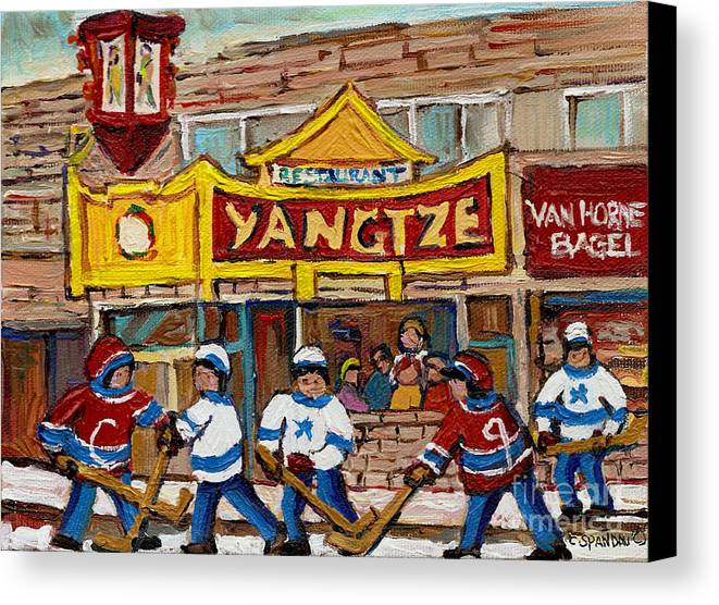 Montreal Canvas Print featuring the painting Yangtze Restaurant With Van Horne Bagel And Hockey by Carole Spandau