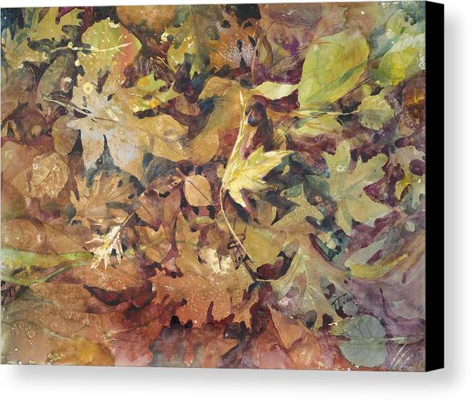 Leaves Canvas Print featuring the painting Yosemite Leaves by Margaret Anderson
