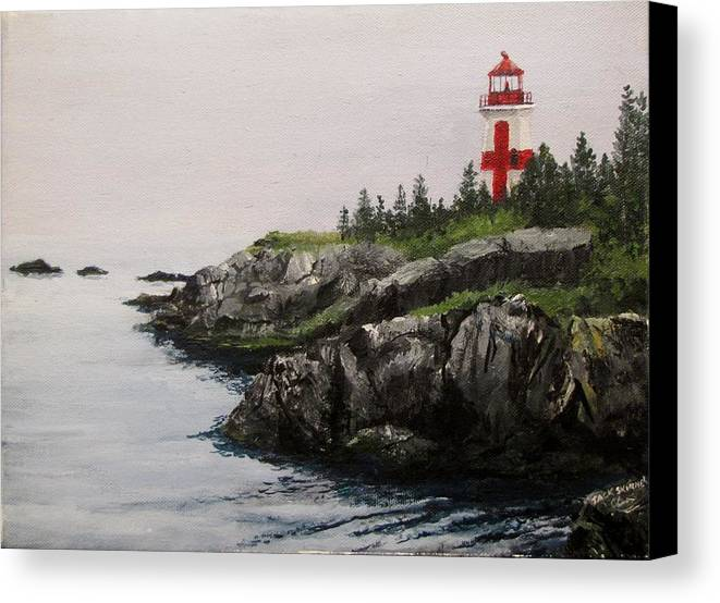 Ocean Canvas Print featuring the painting Head Harbour Lighthouse by Jack Skinner