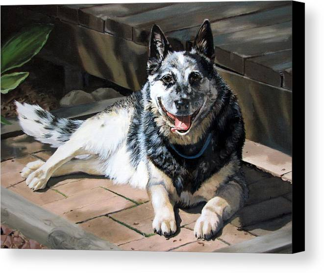 Dog Canvas Print featuring the painting A Man's Best Friend by Sandra Chase