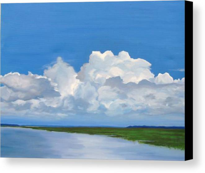 Landscape Canvas Print featuring the painting Along The Causeway by Molly Wright