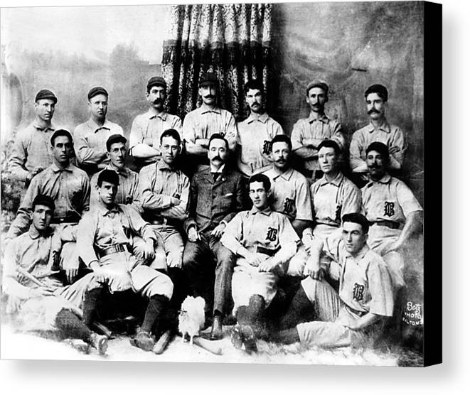 1880s Portaits Canvas Print featuring the photograph Baltimore Orioles, Champion Baseball by Everett