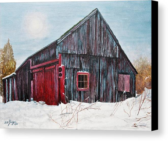 Canvas Print featuring the painting Barn In Snow Southbury Ct by Stuart B Yaeger