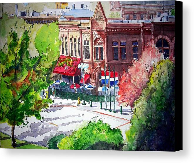 Watercolor Canvas Print featuring the painting Beau Jo's by Tom Riggs