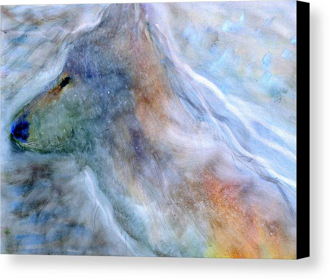 Wolves Wolf Animals Totems Native American Native Totems Aboriginal Cultural Spirit Spirituality Earthly Canvas Print featuring the painting Blue Wolf In Mist by FeatherStone Studio Julie A Miller
