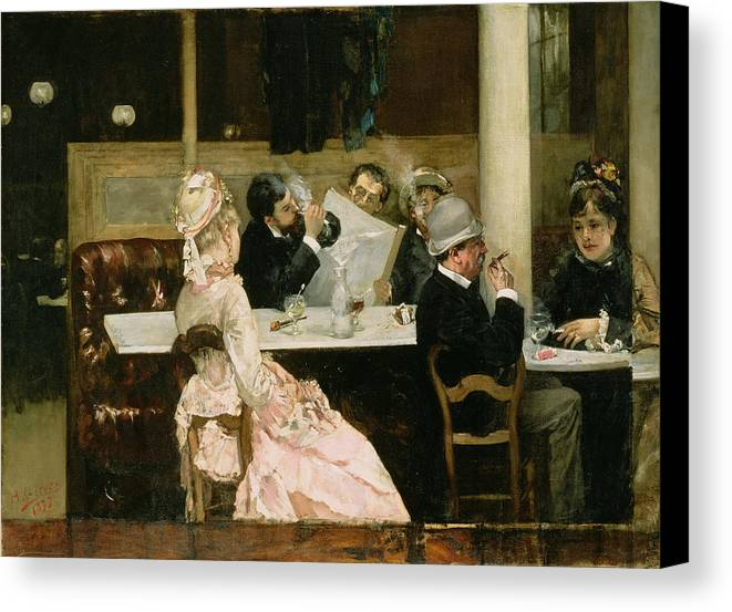 Cafe Canvas Print featuring the painting Cafe Scene In Paris by Henri Gervex