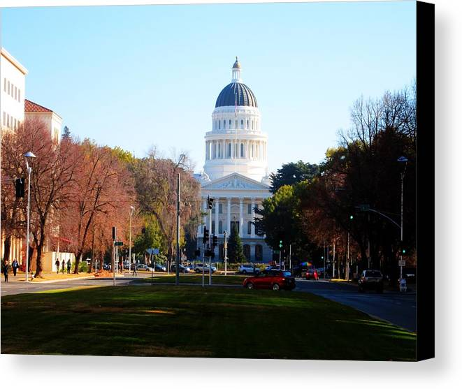 Building Canvas Print featuring the photograph California Capitol Building-3 by Barry Jones