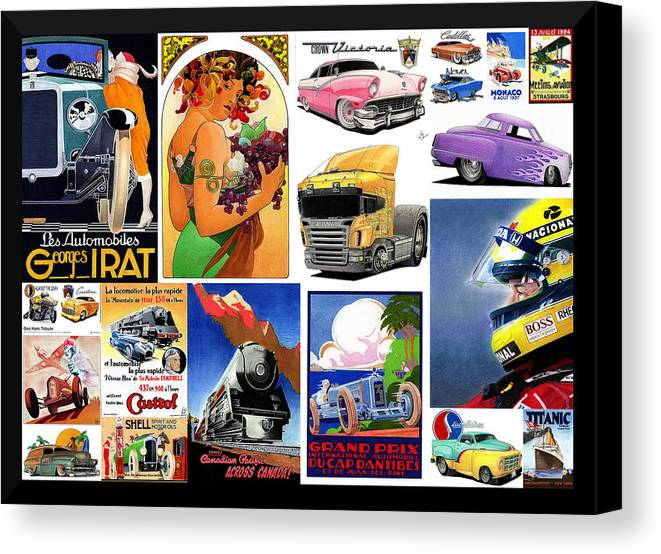 Transportation Canvas Print featuring the mixed media Collage Of Toons 1 by Lyle Brown