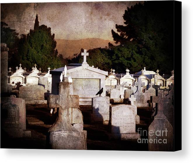 Cemetery Canvas Print featuring the photograph Crow Among The Stones by Laura Iverson