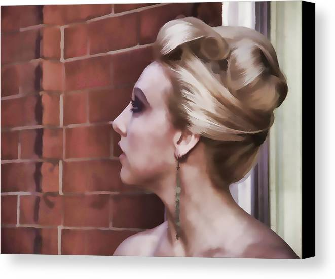 Woman Lady Beauty Classic Portrait Updo Blonde Canvas Print featuring the photograph Dangling Earring by Alice Gipson
