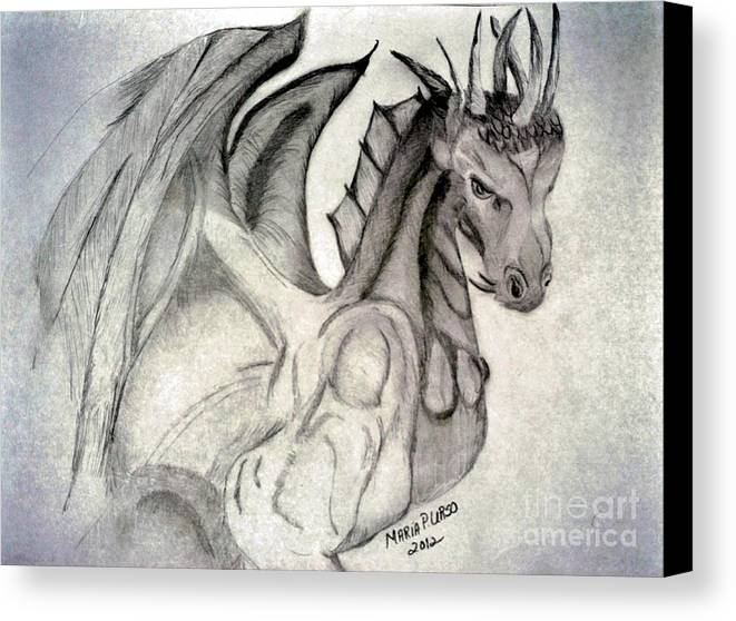 Dragonheart Canvas Print featuring the drawing Dragonheart - Bw by Maria Urso