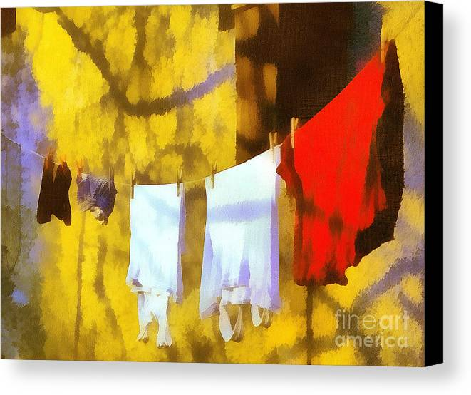 Odon Canvas Print featuring the painting Laid Out To Dry by Odon Czintos