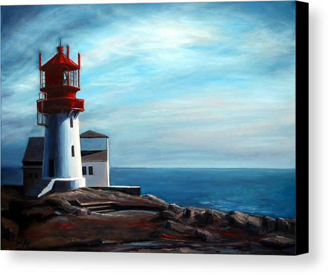 Lighthouse Canvas Print featuring the painting Lindesnes Lighthouse by Janet King