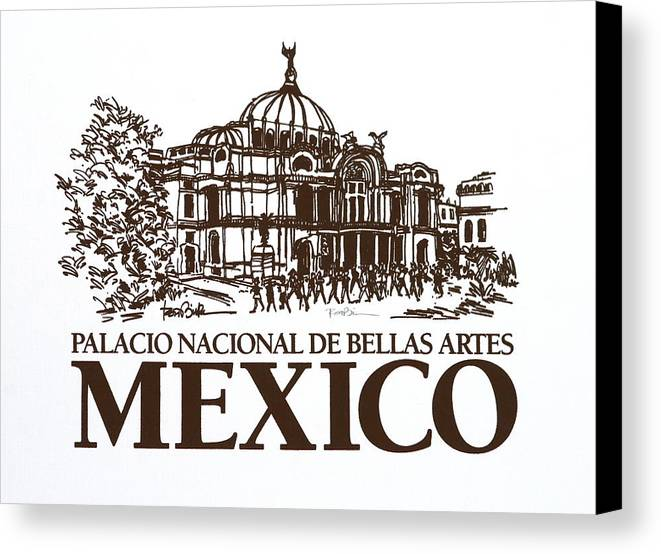 Mexico City - Palace Of Fine Arts - Canvas Print featuring the drawing Architecture. Mexico City - Palace Of Fine Art by Robert Birkenes