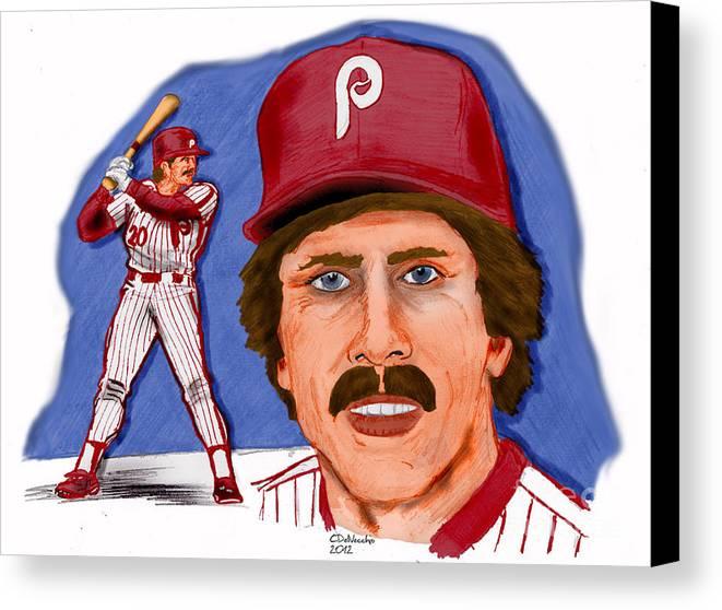 Phillies Canvas Print featuring the drawing Mike Schmidt-color by Chris DelVecchio
