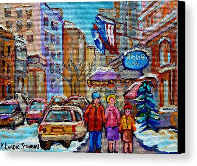 Montreal Canvas Print featuring the painting Montreal Street Scenes In Winter by Carole Spandau