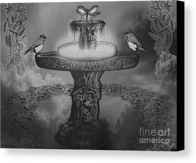 Landscape Canvas Print featuring the mixed media Mystical Garden Waterfountain by Belinda Threeths