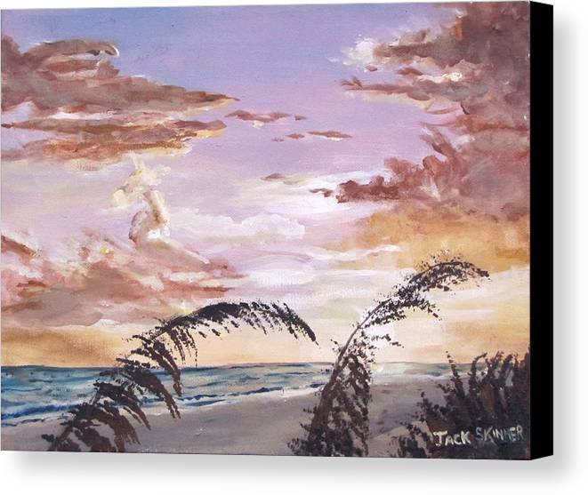Sunset Canvas Print featuring the painting Sanibel Island Sunset by Jack Skinner